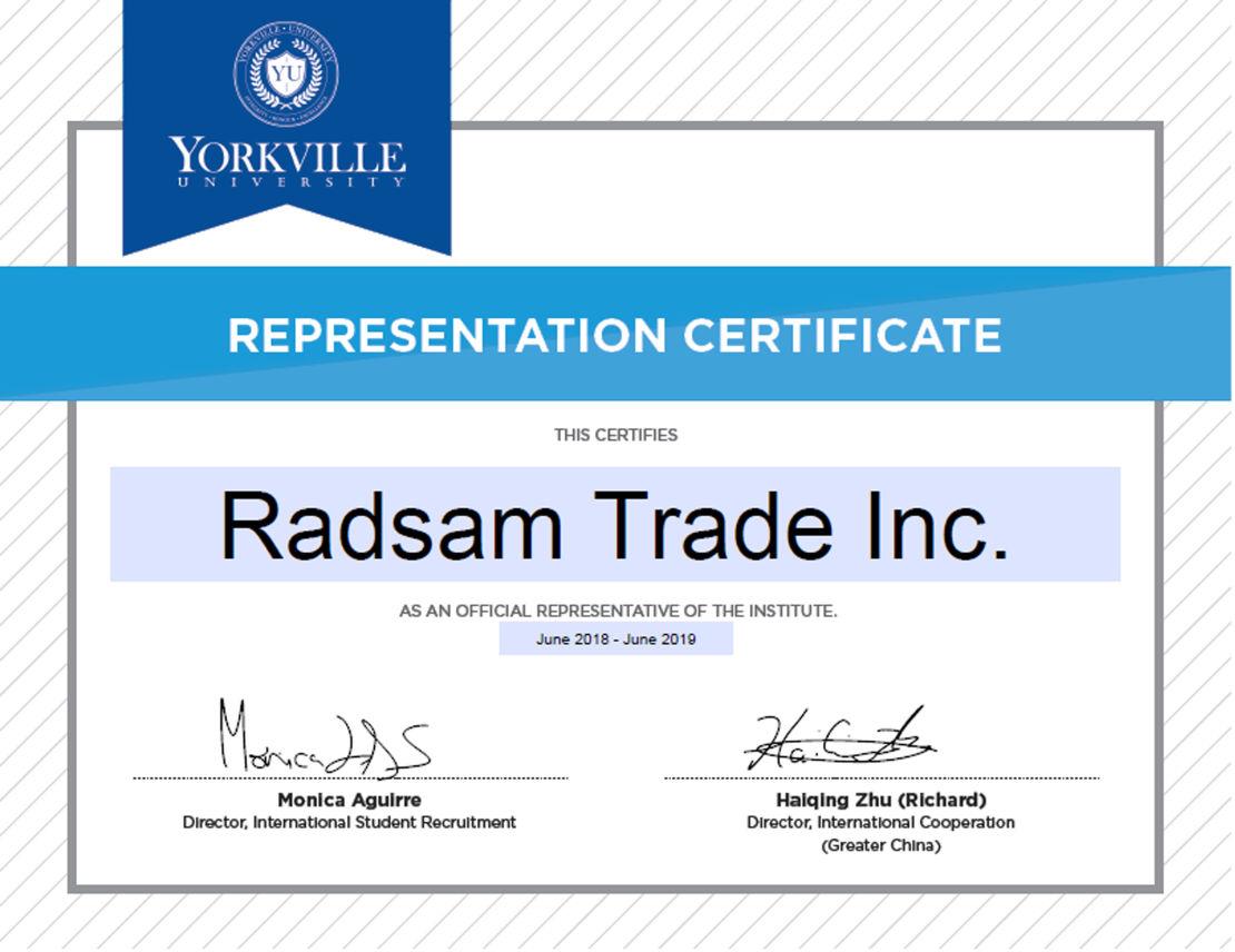 شرکت کانادا رادسام - نماینده دانشگاه یورک ویل تورنتو و ونکوور