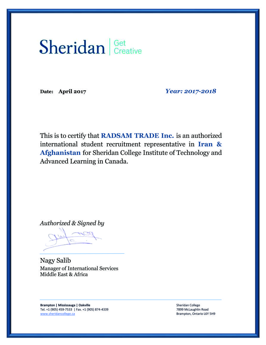 RADSAM Education & Immogration Agency Sheridan College