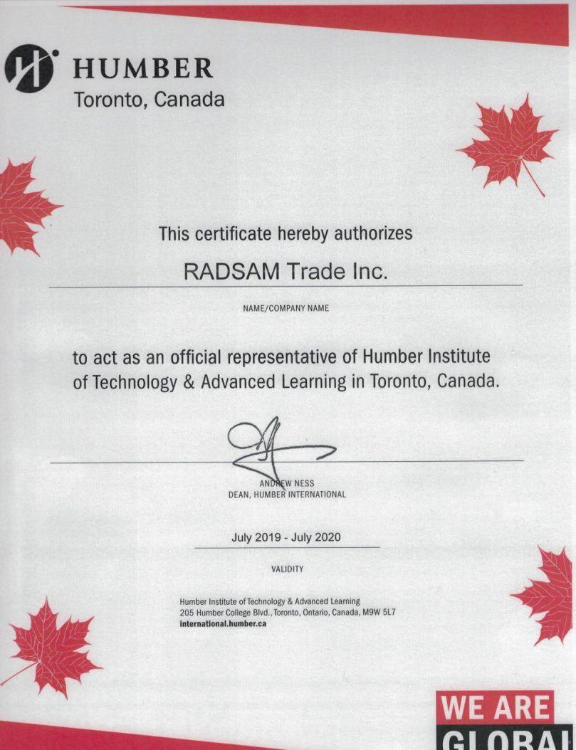 Humber College Representative Certificate