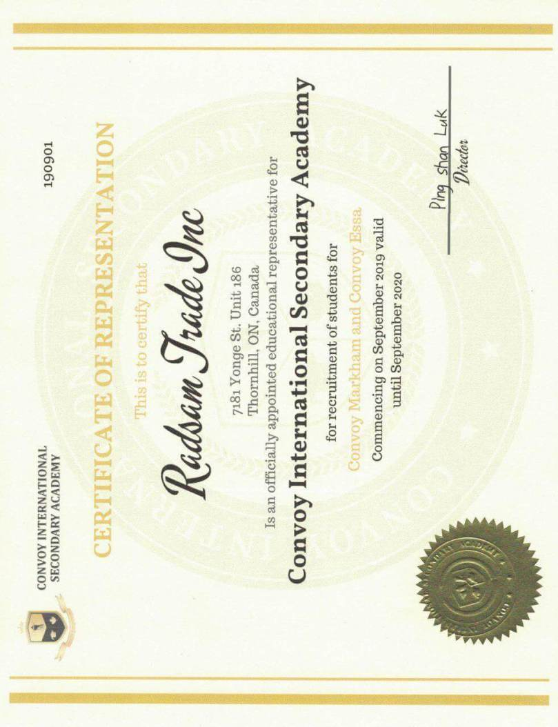 Convoy International Academy Representative Certificate